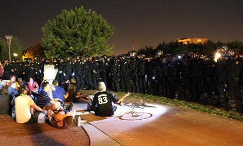 Cops and protestors